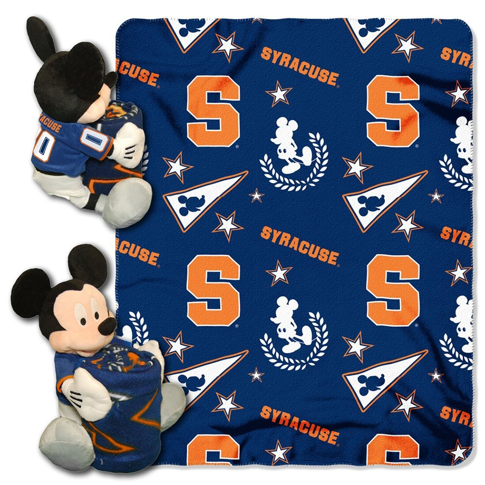 "Official NCAA and Disney Cobrand Syracuse Orange Mickey Mouse Hugger Character Shaped Pillow and 40""x 50"" Fleece Throw Set"