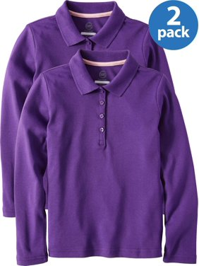 Wonder Nation Girls School Uniform Long Sleeve Interlock Polo, 2-Pack Value Bundle (Little Girls & Big Girls)