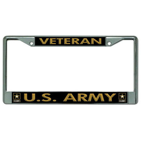 Veteran U.S. Army Chrome License Plate Frame