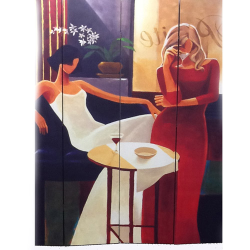 Ore International Inc. 4-Panel Women in Fashion Canvas Room Divider