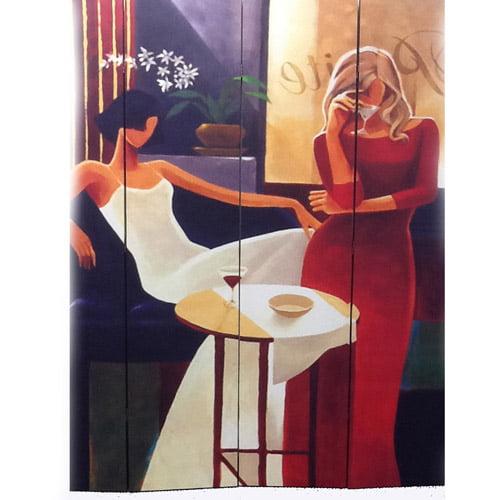 Ore International Inc. 4-Panel Women in Fashion Canvas Room Divider