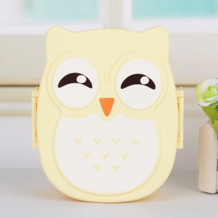 4 Candy Colors 900ML Owl Lunch Box Creative Cartoon Food-safe Plastic Children Microwave Meal Boxes Portable Food Container with 2 Compartments for School Picnic Outdoor Camping Cutlery Set