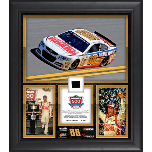 "Dale Earnhardt Jr. Fanatics Authentic Framed 15"" x 17"" 2014 Daytona 500 Champion Collage with Race-Used Tire-Limited Edition of 500 - No Size"