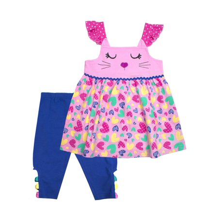 Cat Hearts Top & Capri Leggings, 2pc Outfit Set (Baby Girls & Toddler Girls)