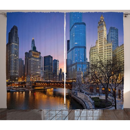 Landscape Curtains 2 Panels Set, Usa Chicago Cityscape with Rivers Bridge and Skyscrapers Cosmopolitan City Image, Window Drapes for Living Room Bedroom, 108W X 96L Inches, Multicolor, by Ambesonne