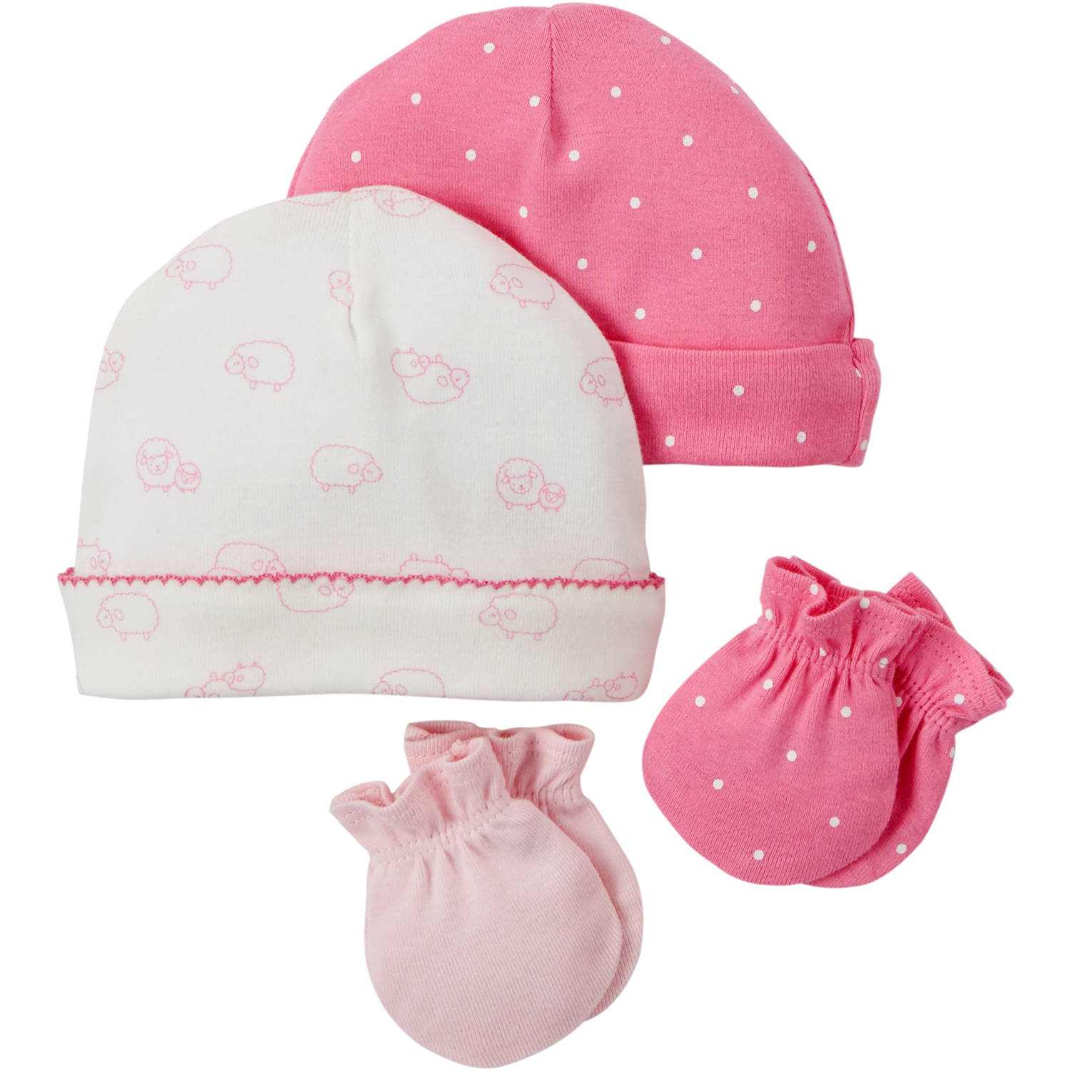 Child Of Mine by Carter's Newborn Baby Girl Mitten and Cap 4-Piece Set