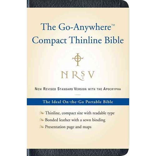 Holy Bible: New Revised Standard Version, Navy, Bonded Leather,The Go-Anywhere Compact Thinline Bible,With the Apocrypha