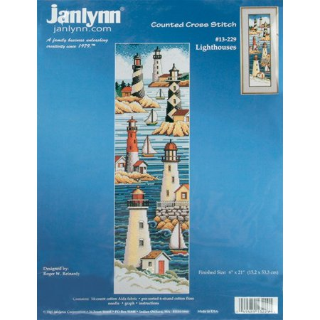 "Janlynn Lighthouses Counted Cross Stitch Kit, 6"" x 21"", 14 Count"