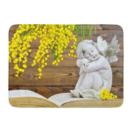 GODPOK Baby White Sympathy Angel and Spring Flowers on Wooden Yellow Book Bible Rug Doormat Bath Mat 23.6x15.7 (Welcome Says Angel)