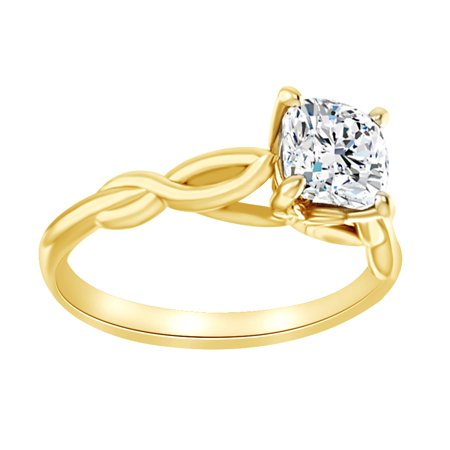 Simulated White Moissanite Solitaire Twisted Engagement Ring In 14K Solid Yellow Gold, Size-8