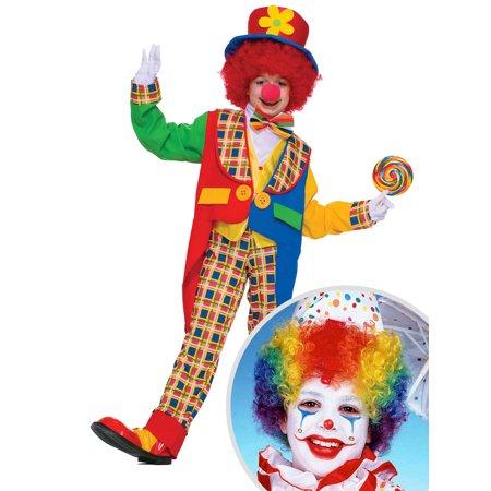 Children's Clown Around Town Costume and Kid's Multicolored Clown (Kid's Clown Wig)