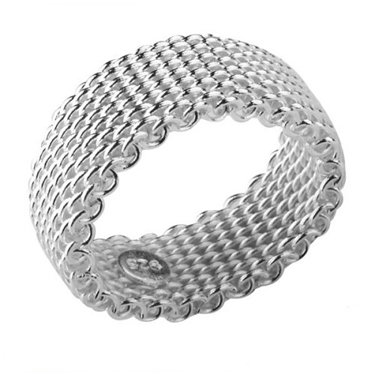 - Flexible Mesh Chain Link Ring Sterling Silver Wire