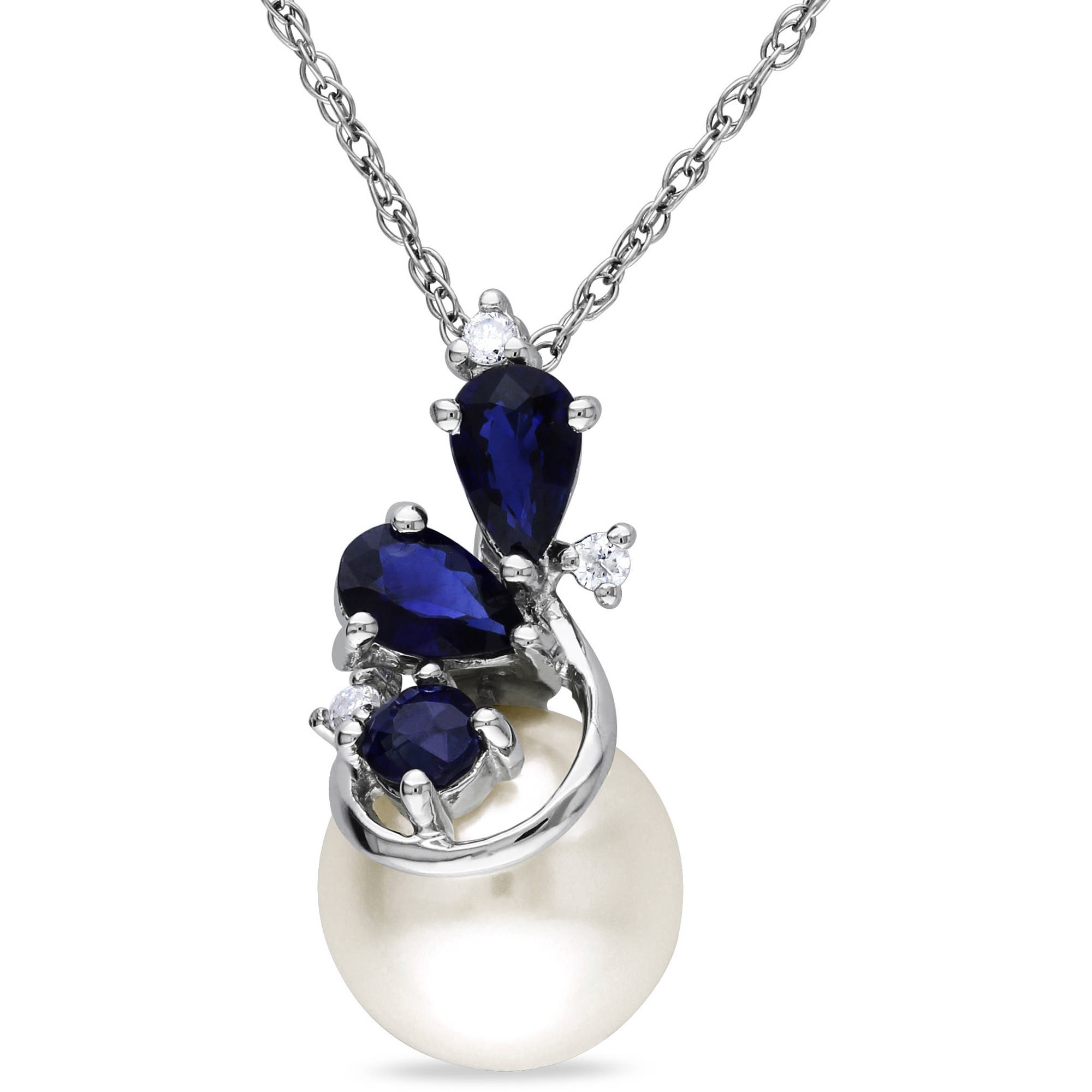 Miabella 8.5-9mm White Cultured Freshwater Pearl and 5 8 Carat T.G.W. Sapphire with Diamond-Accent Sterling Silver... by Delmar Manufacturing LLC