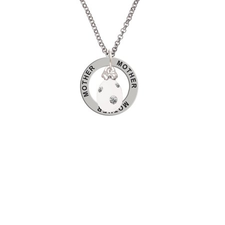 Dot Mother Of Pearl Ring - White Easter Egg with Clear Crystal Dots Mother Affirmation Ring Necklace