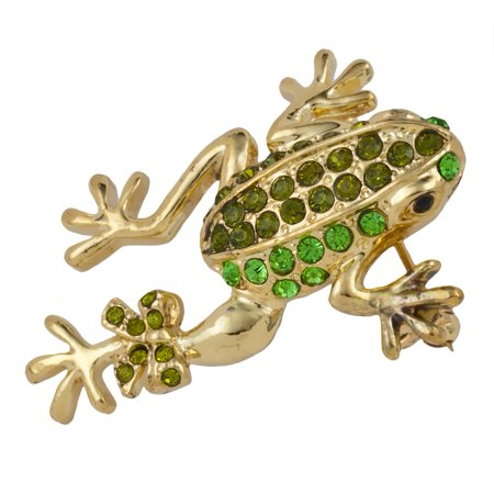Green Frog with Bow Jeweled Gold-Tone Pin (Jeweled Frog)