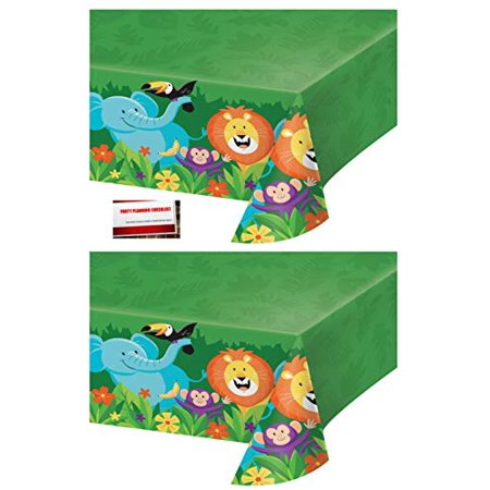 (2 Pack) Jungle Forest Animals Safari Lion Elephant Monkey Birthday Plastic Table Cover 54 X 102 Inches (Plus Party Planning Checklist by Mikes Super Store) - Jungle Themed Parties