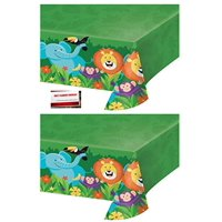 (2 Pack) Jungle Forest Animals Safari Lion Elephant Monkey Birthday Plastic Table Cover 54 X 102 Inches (Plus Party Planning Checklist by Mikes Super Store)