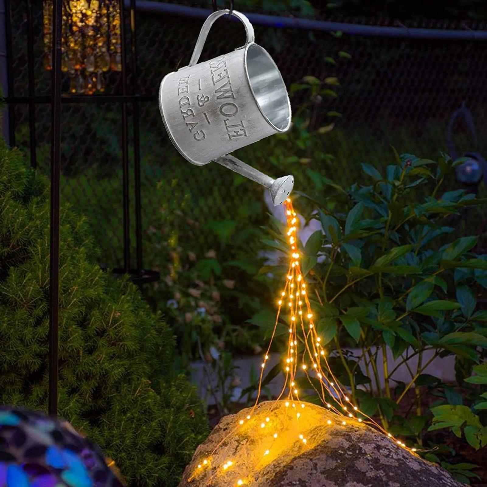 Cyan oak Star Shower Garden Art Light Waterproof LED Watering Can String  Lights Hanging Lights Battery Powered for Walkway Patio Lawn Yard