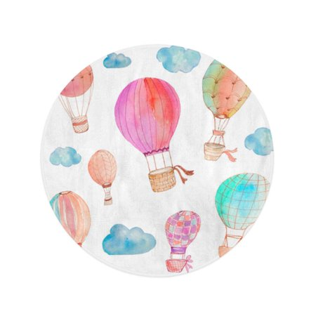 JSDART 60 inch Round Beach Towel Blanket Pink Watercolour Watercolor Hot Air Balloons Clouds Colorful Nursery Travel Circle Circular Towels Mat Tapestry Beach Throw - image 2 de 2
