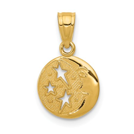 14k Yellow Gold Moon Stars Pendant Charm Necklace Celestial