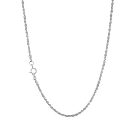 14k White Gold Womens 1.5mm Light Diamond Cut  Rope Chain Pendant Necklace 14