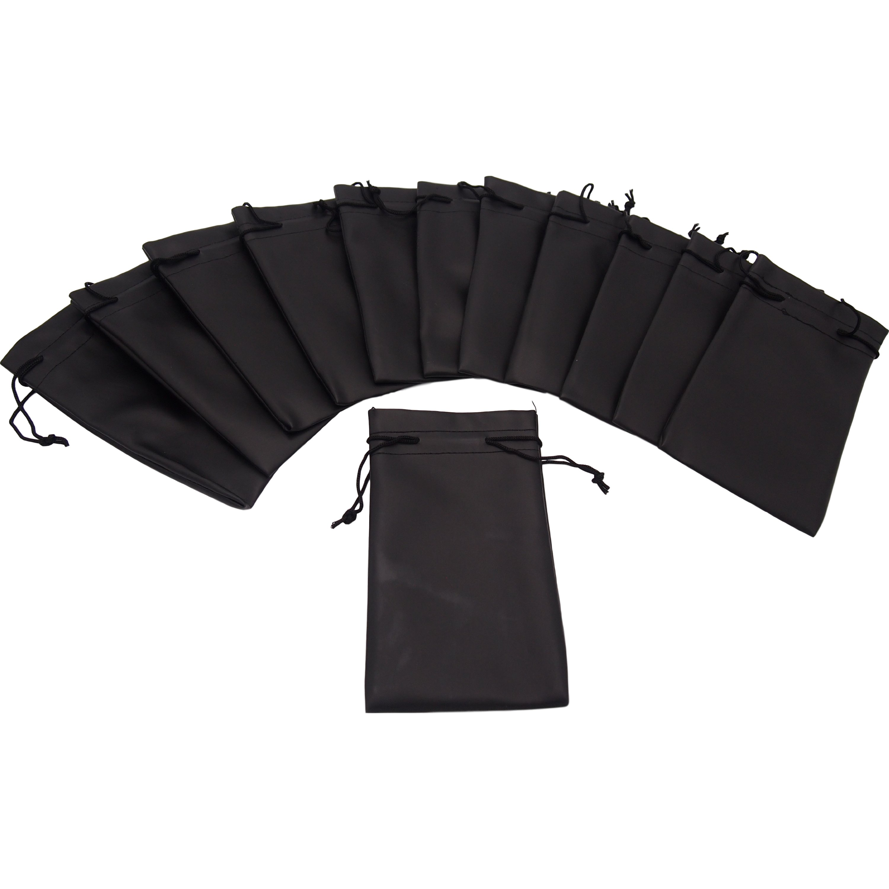 12 Black Faux Leather Drawstring Pouches Jewelers Bags