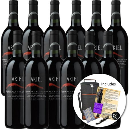 Ariel Cabernet Non-Alcoholic Red Wine Experience Bundle with Chromacast Wine Travel Cooler Bag, Ice Packs, Cork Screw, Pop Socket, Seasonal Wine Pairings & Recipes, 12 Pack Summer Breeze Red Wine
