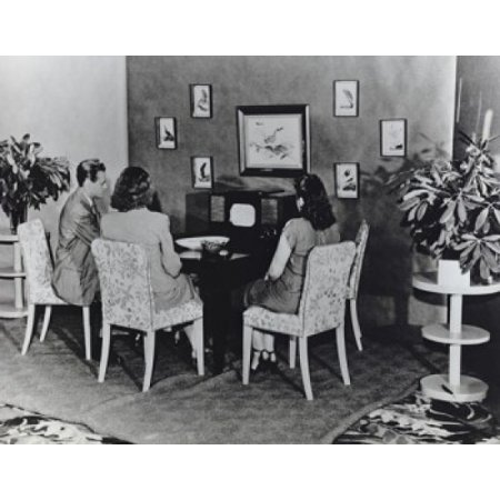 Family Watching Television On Rcas First Commercially Produced Black