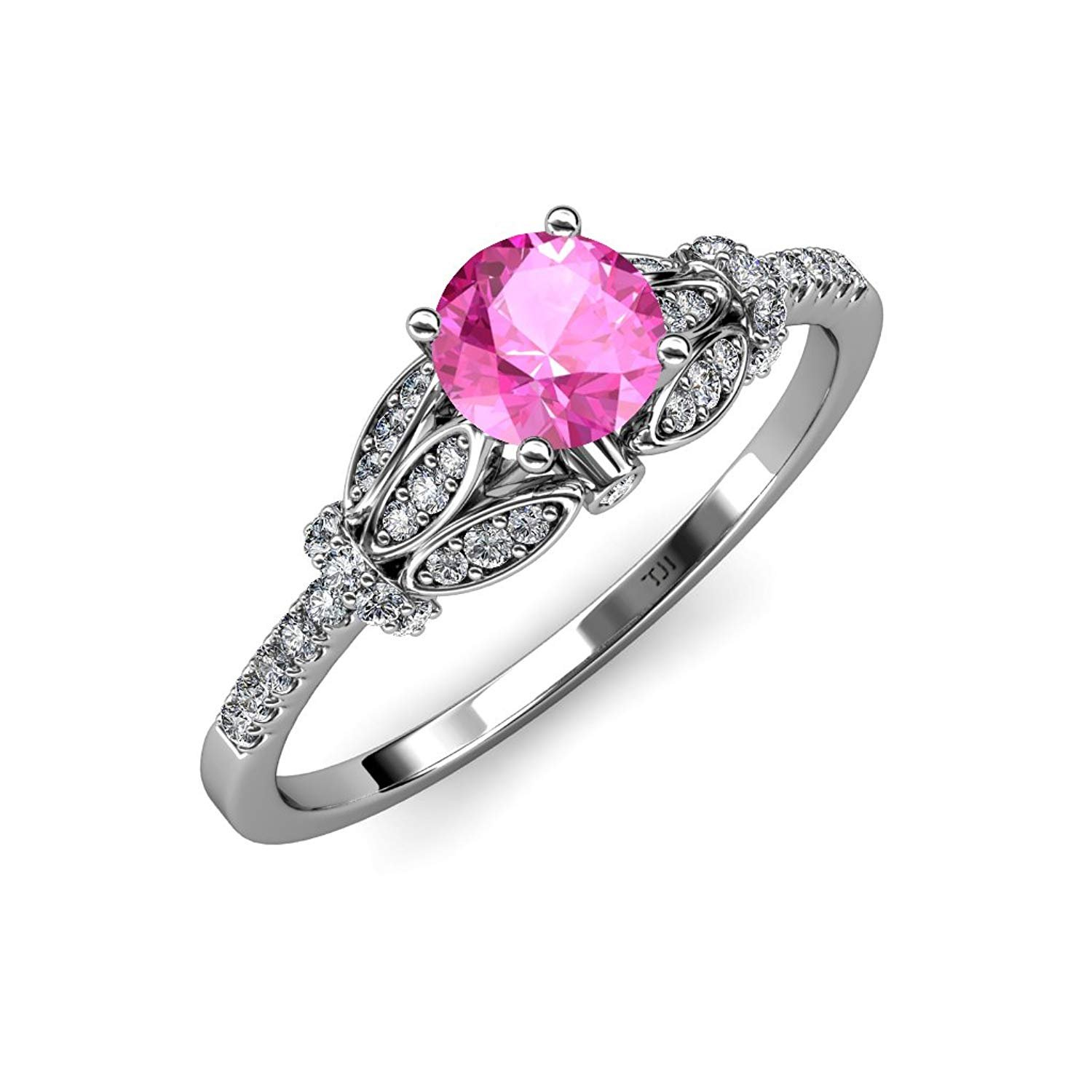 Pink Sapphire and Diamond (SI2-I1, G-H) Engagement Ring 1.23 ct tw in 14K White Gold.size 7 by TriJewels
