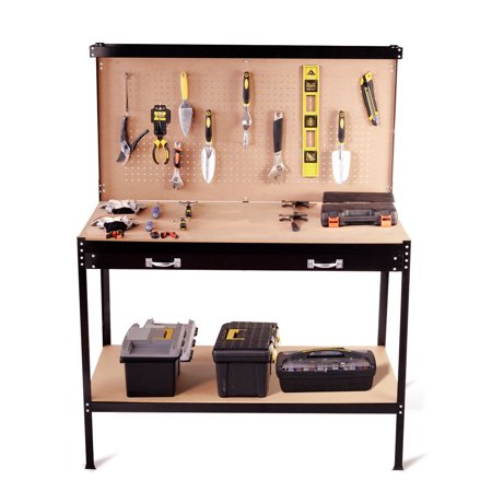 Mobile Steel Workbench (Costway Multi-Purpose Workbench Tools Storage Steel Frame Workshop Drawer Peg)