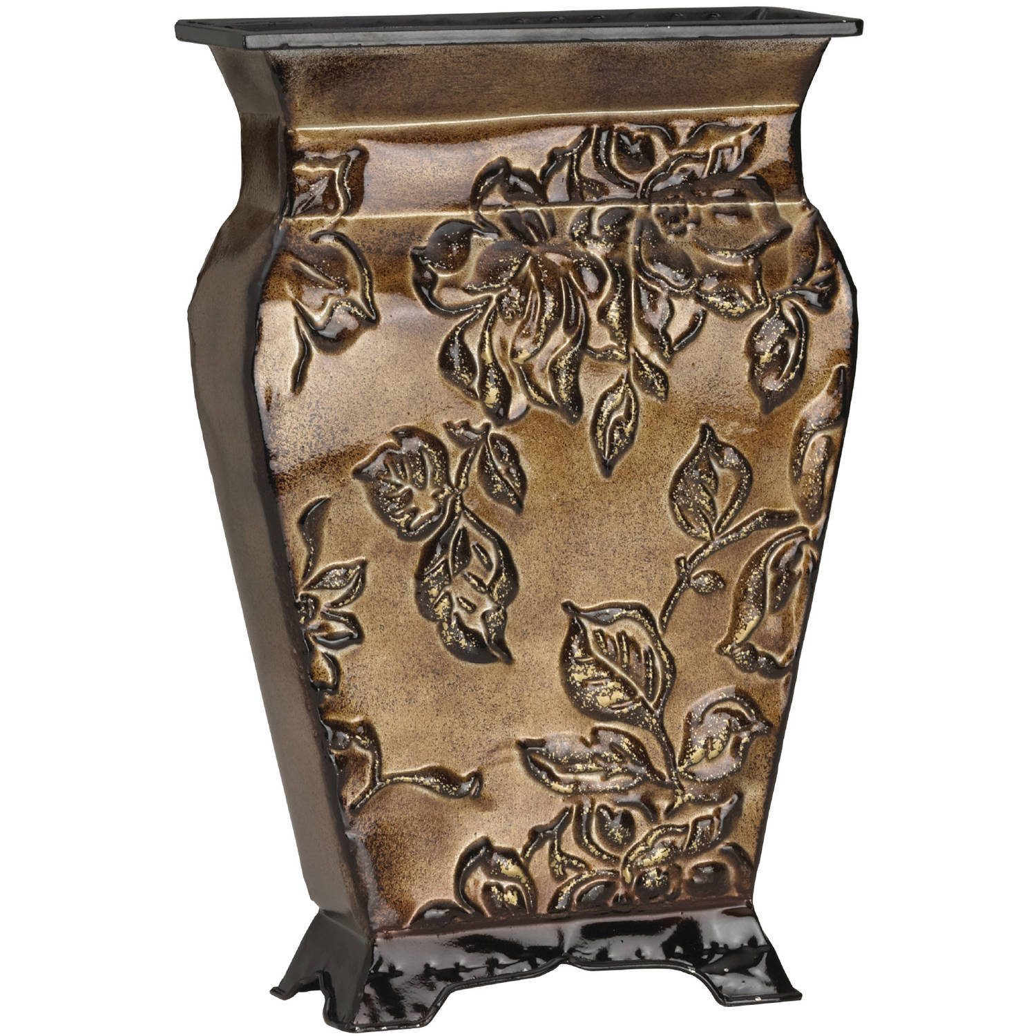 "Elements 14"" Embossed Metal Gold Floral Vase"