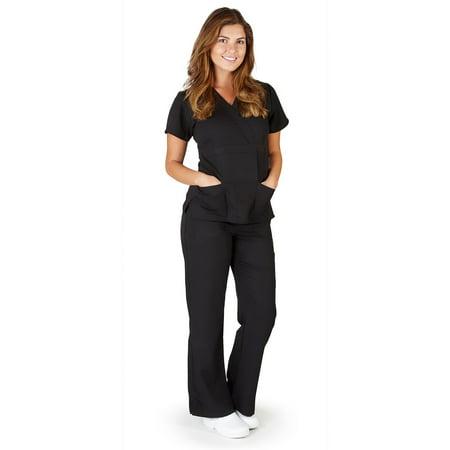 UltraSoft Premium Mock Wrap Medical Nursing Scrubs Set For Women - JUNIOR FIT Black / Medium