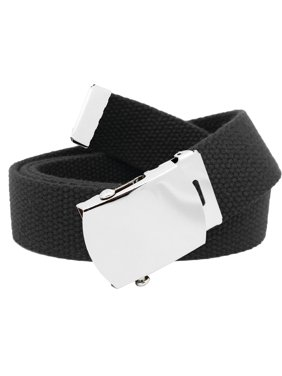c7b414bfdc472 Men's Classic Silver Slider Military Belt Buckle with Canvas Web Belt Small  Black