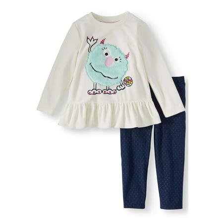 Long Sleeve Ruffle Peplum Top & Leggings, 2-Piece Outfit Set (Toddler Girls)