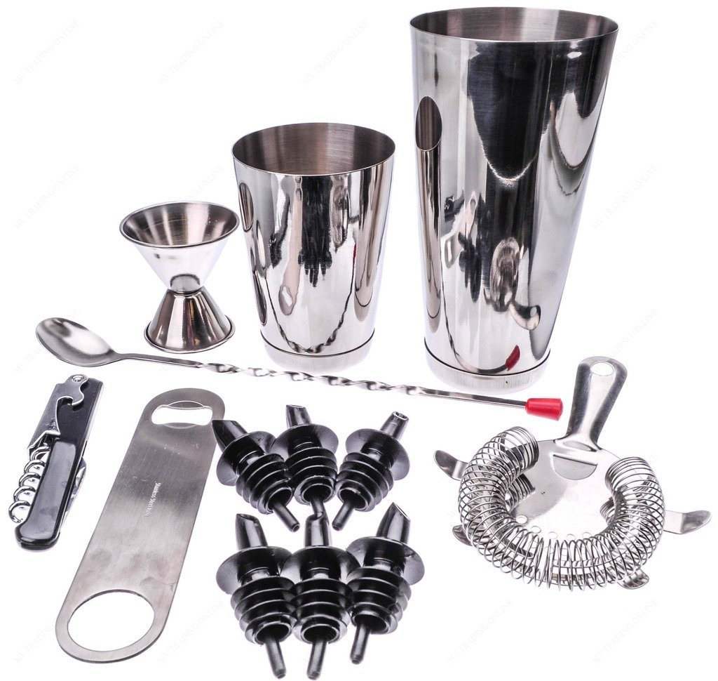 M.V. Trading BRST13 13 Piece Stainless Steel Professional Bar Set (2 Cocktail Shakers, Jigger, Speed Opener,... by M.V. Trading