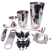 M.V. Trading BRST13 13 Piece Stainless Steel Professional Bar Set (2 Cocktail Shakers, Jigger, Speed Opener, Waiters Corkscrew, Julep Strainer, Long bar spoon and 6 Black bottle pourers)