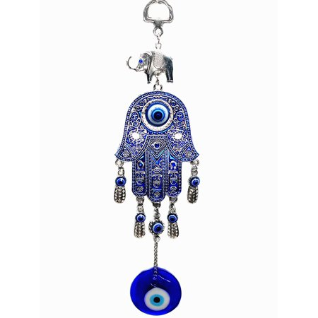 Blue Evil Eye with Hamsa Hand Protection Hanging Ornament -028 ()