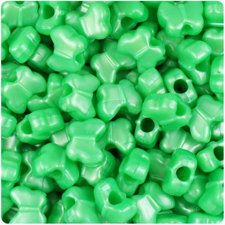 BeadTin Bright Green Pearl 13mm Butterfly Pony Beads