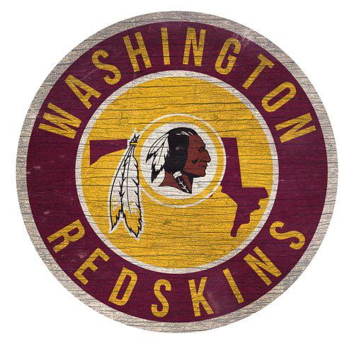 Washington Redskins Sign Wood 12 Inch Round State Design