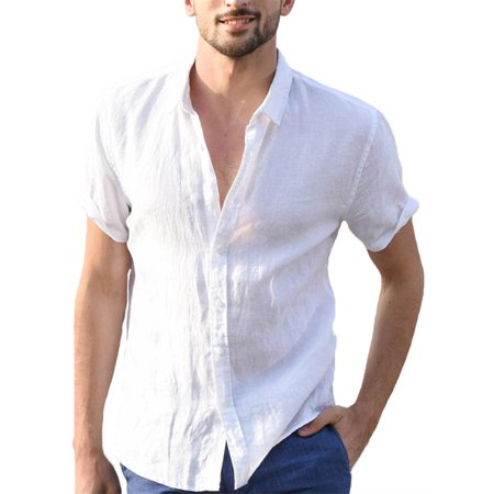 Mens Summer Short Sleeve Button-Down Casual Shirts