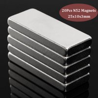 20Pcs N52 Grade Super Strong Block NdFeB Magnets Rare Earth Neodymium Magnet Craft 25x10x3mm