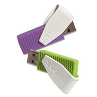 Verbatim 16GB Swivel USB Flash Drive (2 Pack) (Green, Violet)