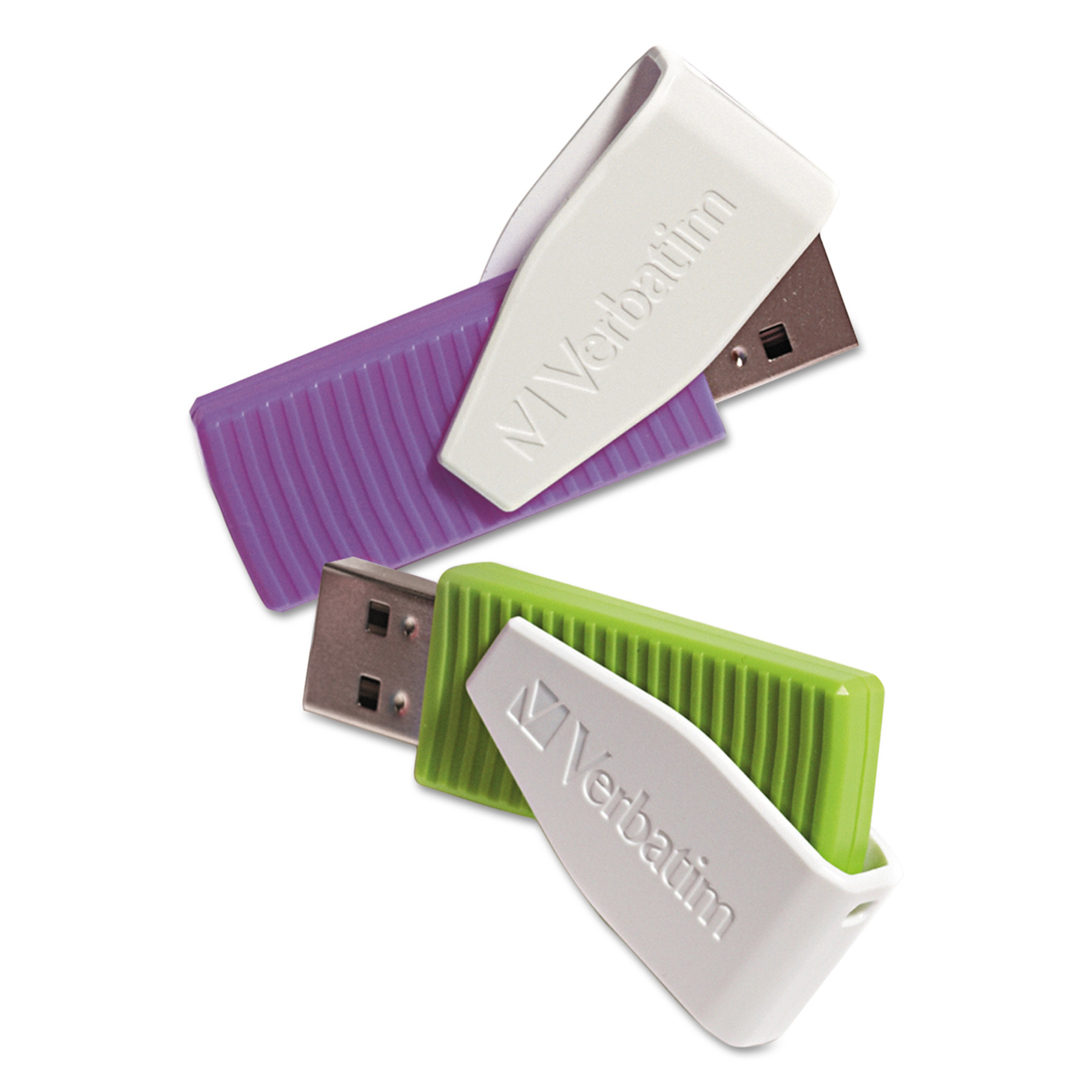 Verbatim Store 'n' Go Swivel USB 2.0 Flash Drive, 16GB, Green/Violet, 2/Pack -VER98425