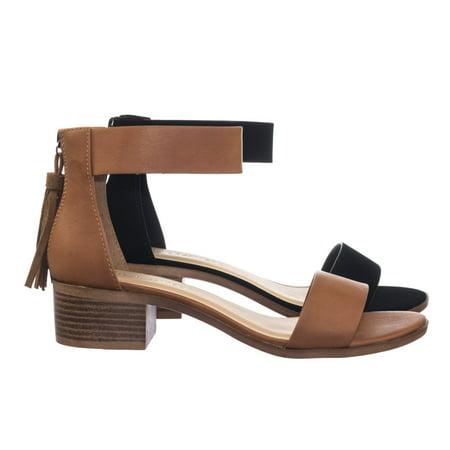 Briefly By Dbdk Vintage Rear Tassel Low Chunky Block Stack Heel Sandal W Ankle Strap
