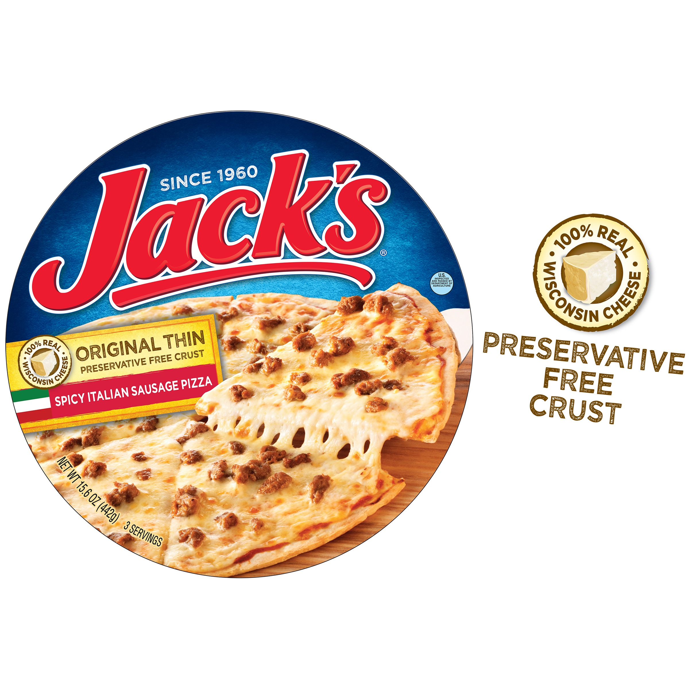 jack s original thin crust spicy italian sausage frozen pizza 15 6