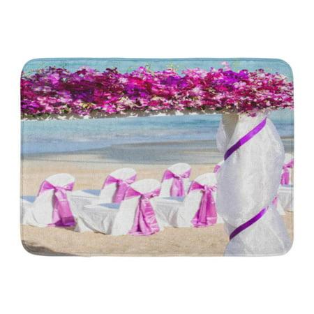 Beach Roll Up Mat (GODPOK Red Bridal Pink Ceremony Wedding Up on The Beach Blue Beautiful Bright Rug Doormat Bath Mat 23.6x15.7)