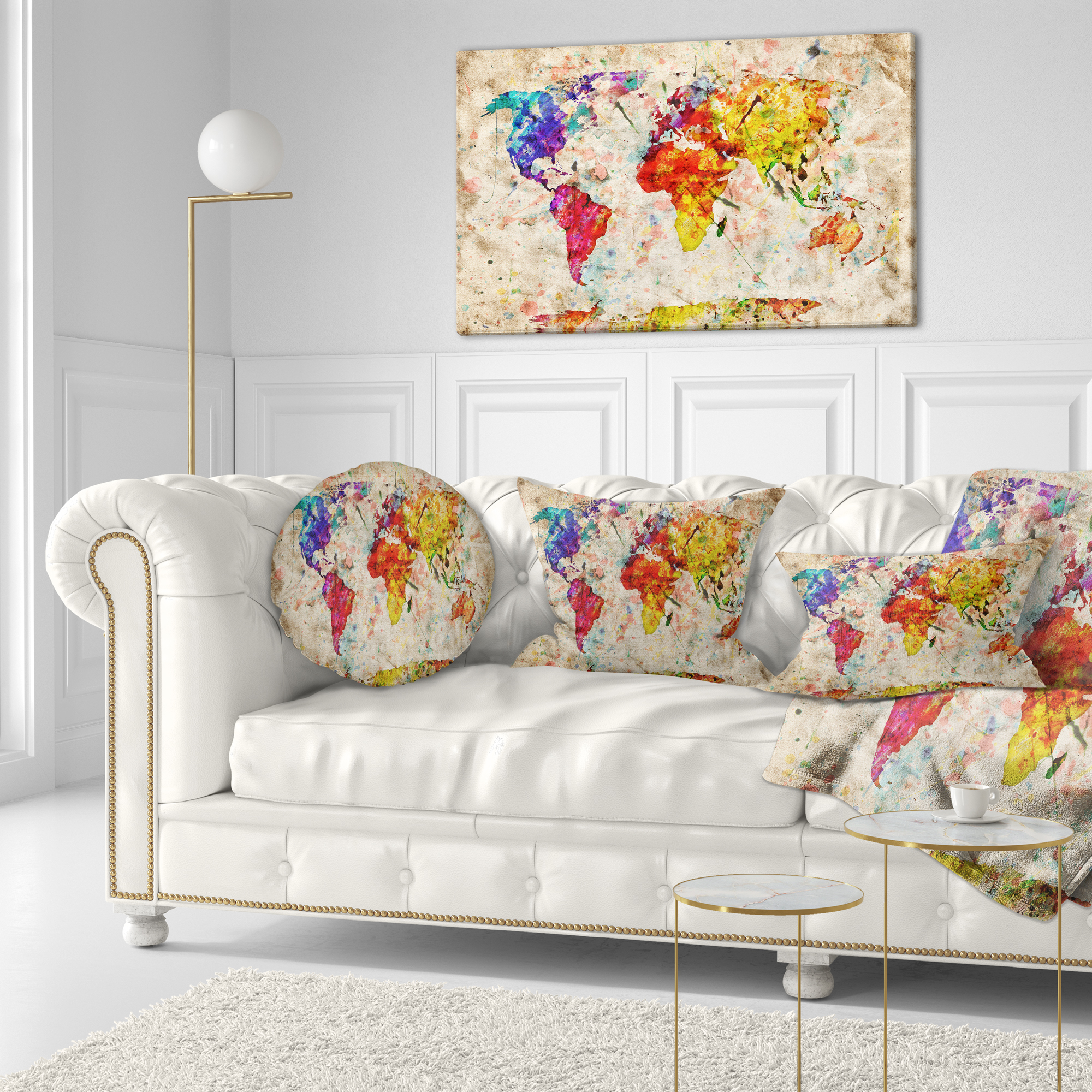 Vintage world map watercolor map canvas art print gumiabroncs Choice Image