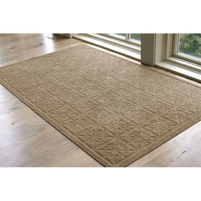 Bungalow Flooring 858122335 Soft Impressions Star Quilt Mat in Latte - 2 ft.  x 3 ft.