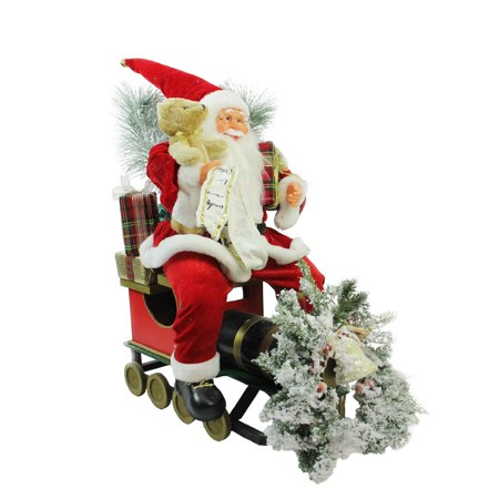 "26"" Traditional Santa Claus Christmas Figure Sitting on Decorative Locomotive Train Car - image 2 of 2"