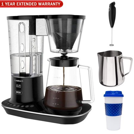 Cuisinart DCC-4000 12-Cup Self Cleaning Coffee Maker, Black w/ Warranty Bundle Includes, 12 oz. Milk Frothing Pitcher, Milk Frother Handheld Electric Foam Maker, 16 oz. Reusable To Go Mug + 1 Year (1 2 Cup Coconut Milk In Ml)